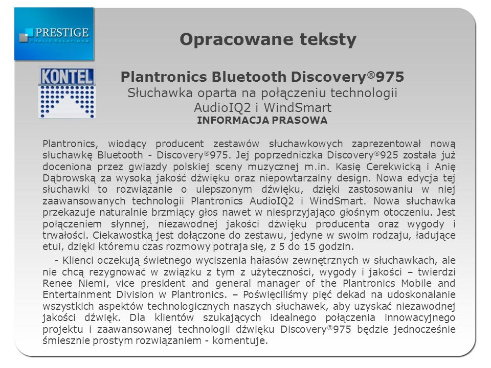 Opracowane teksty Plantronics Bluetooth Discovery®975