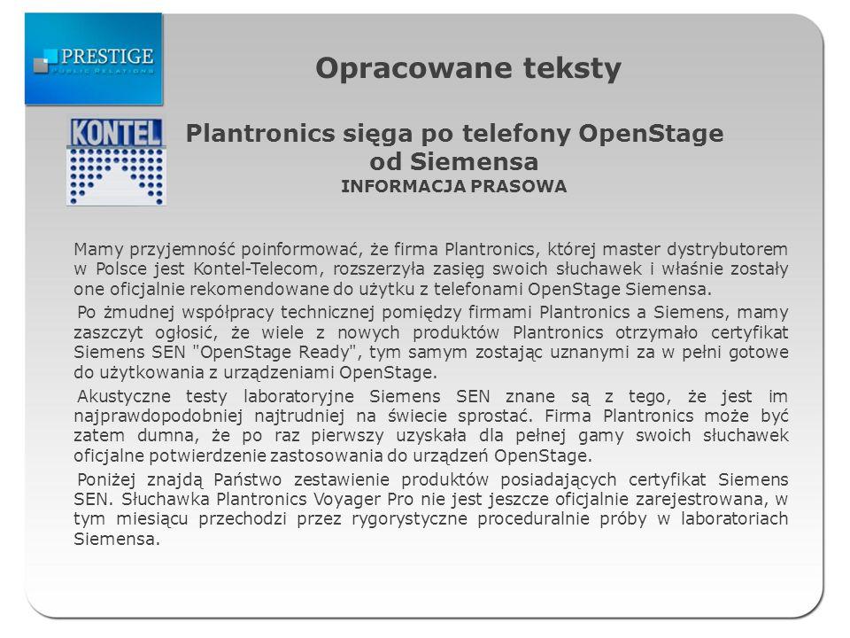 Plantronics sięga po telefony OpenStage od Siemensa