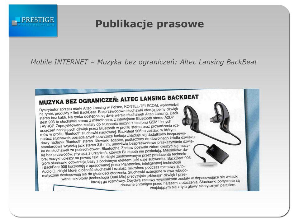 Publikacje prasowe Mobile INTERNET – Muzyka bez ograniczeń: Altec Lansing BackBeat