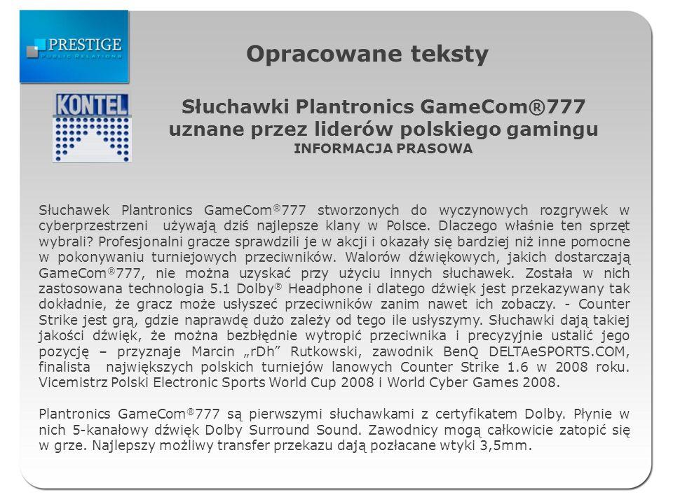 Opracowane teksty Słuchawki Plantronics GameCom®777