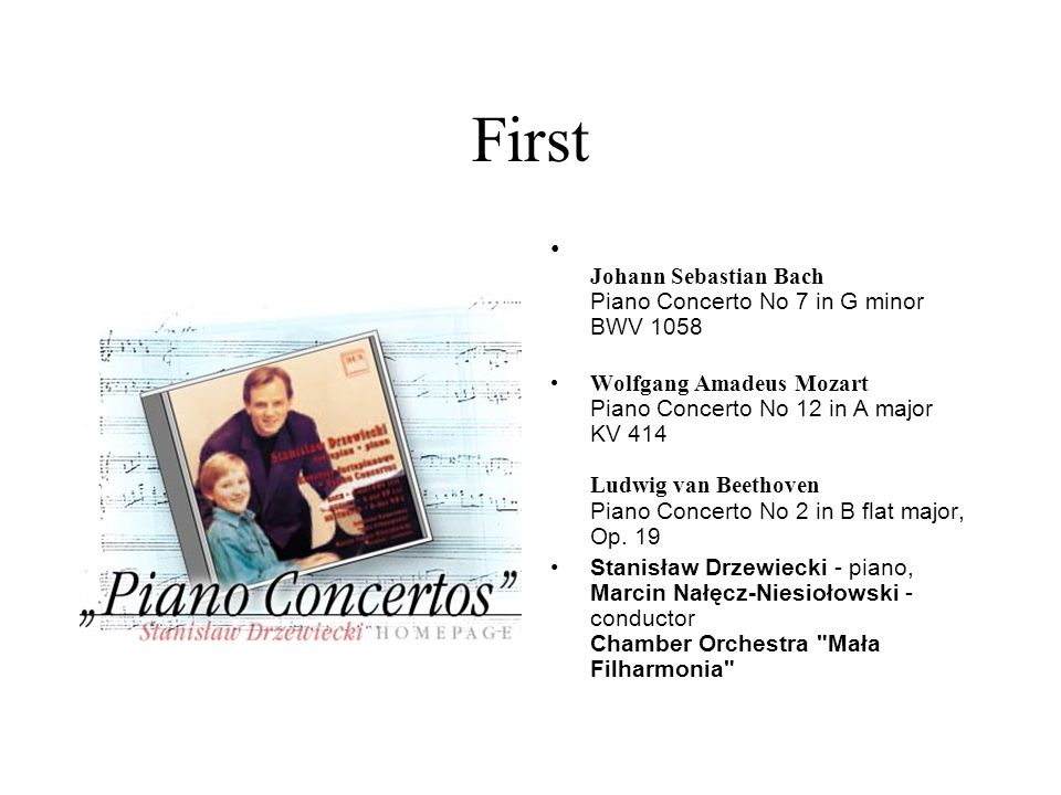 First Johann Sebastian Bach Piano Concerto No 7 in G minor BWV 1058