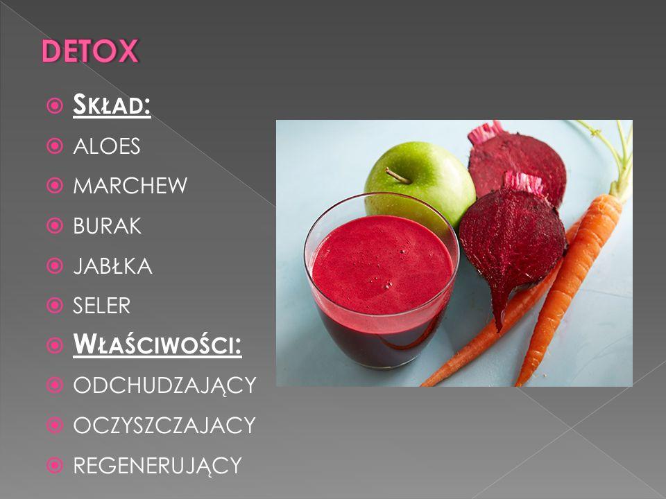 detox Skład: aloes marchew burak jabłka seler Właściwości: