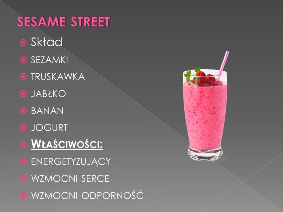 sesame street Skład sezamki truskawka jabłko banan jogurt Właściwości: