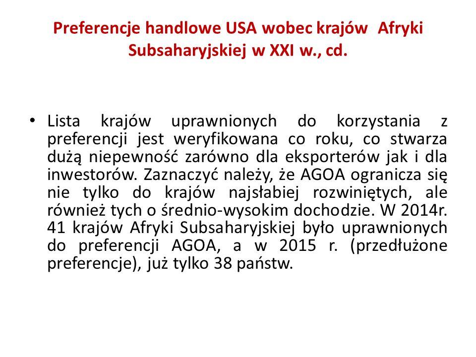 Preferencje handlowe USA wobec krajów Afryki Subsaharyjskiej w XXI w