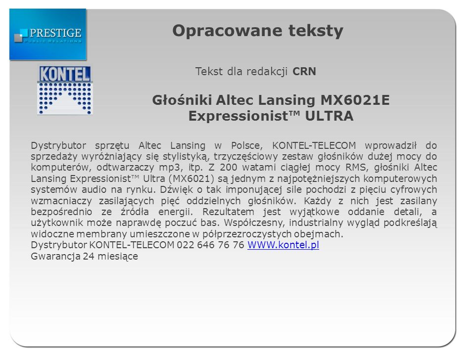 Głośniki Altec Lansing MX6021E Expressionist™ ULTRA