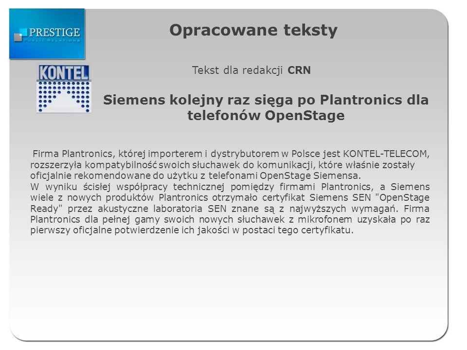 Siemens kolejny raz sięga po Plantronics dla telefonów OpenStage