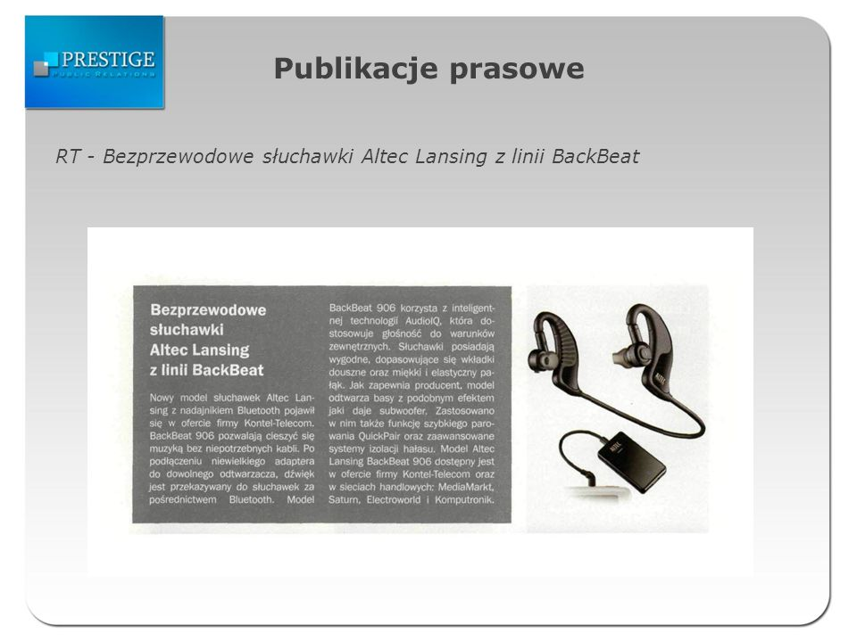 Publikacje prasowe RT - Bezprzewodowe słuchawki Altec Lansing z linii BackBeat