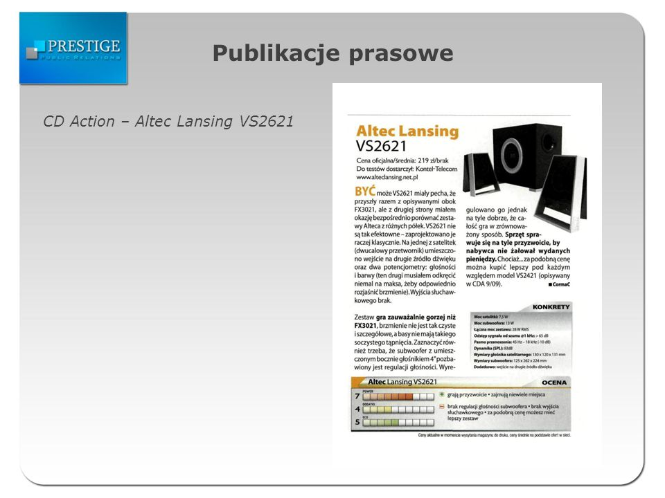 Publikacje prasowe CD Action – Altec Lansing VS2621