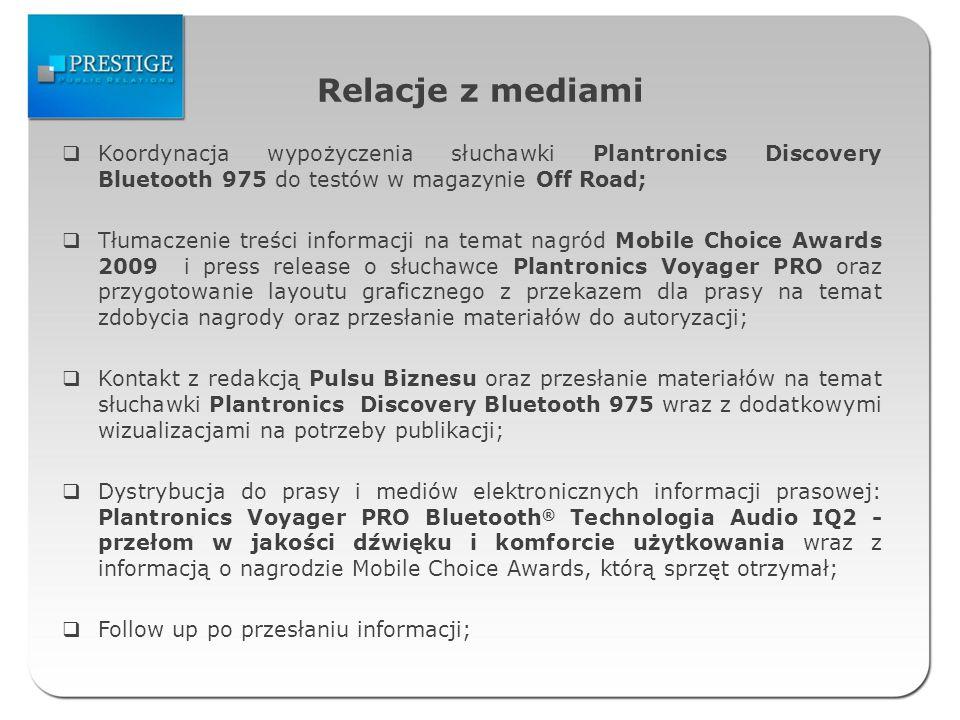 Relacje z mediami Koordynacja wypożyczenia słuchawki Plantronics Discovery Bluetooth 975 do testów w magazynie Off Road;