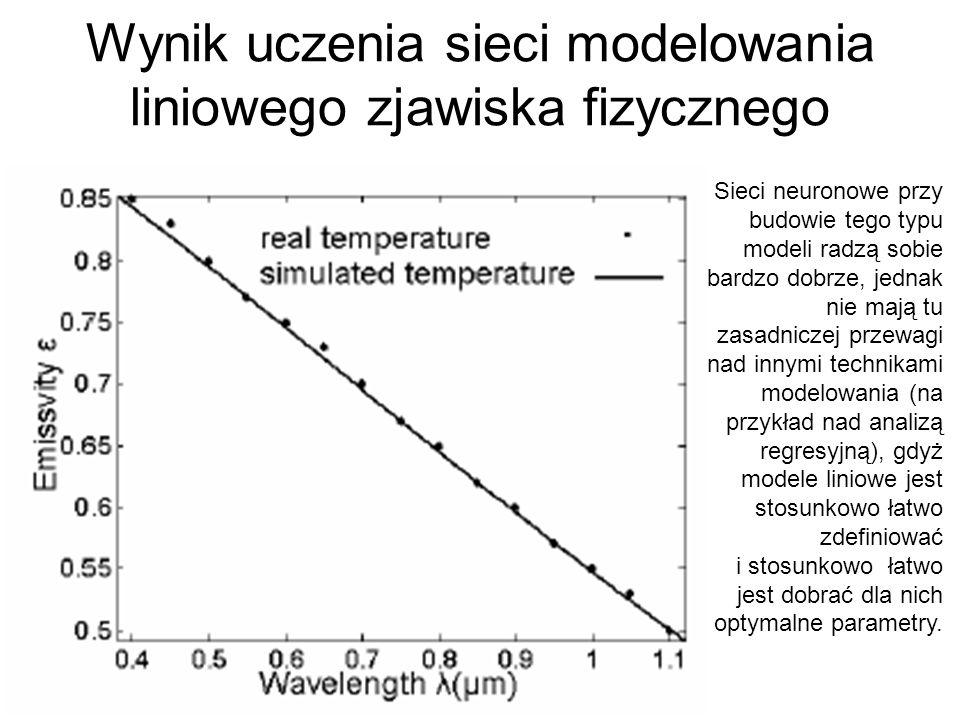 Wynik uczenia sieci modelowania liniowego zjawiska fizycznego