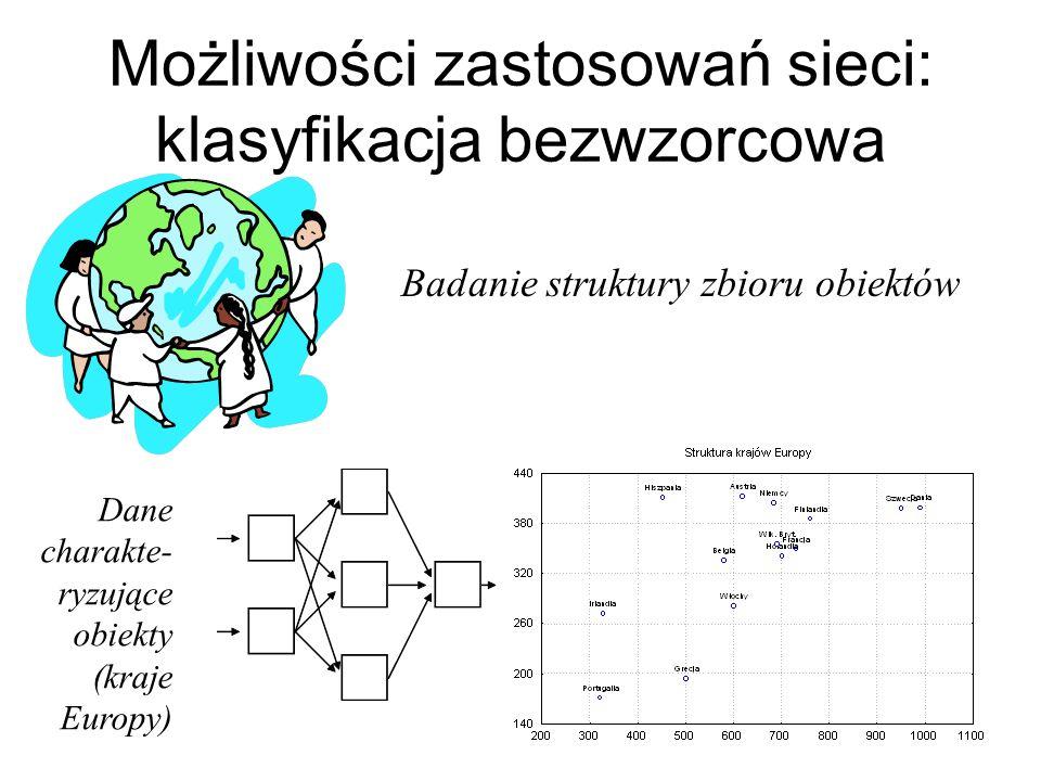 Możliwości zastosowań sieci: klasyfikacja bezwzorcowa