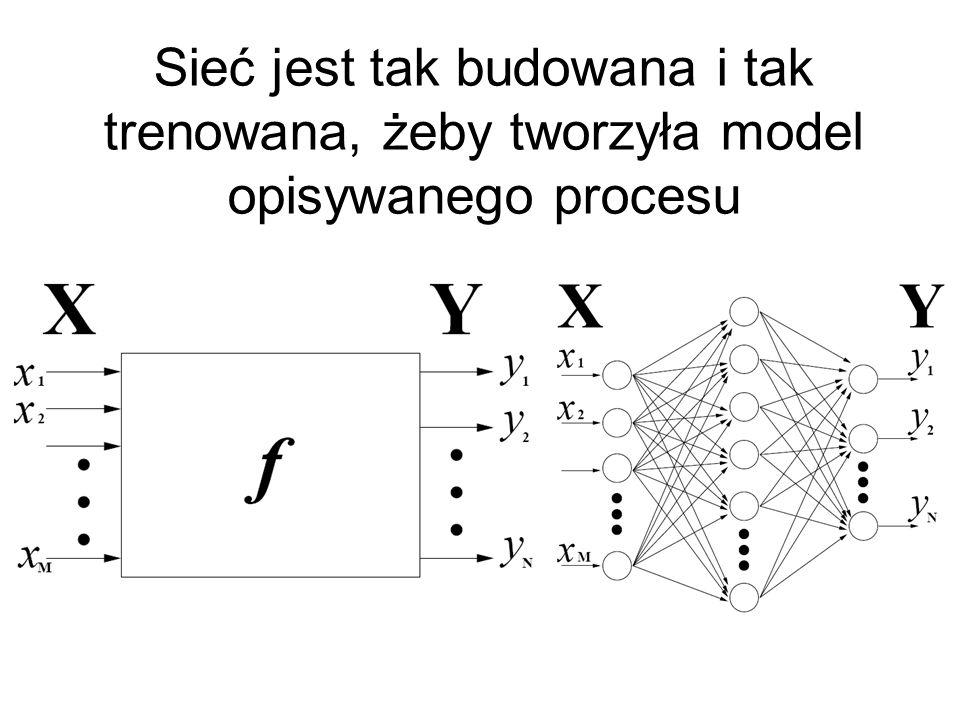 Sieć jest tak budowana i tak trenowana, żeby tworzyła model opisywanego procesu