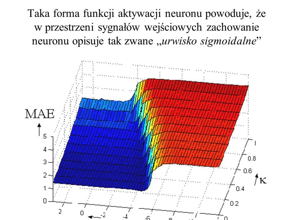 """Taka forma funkcji aktywacji neuronu powoduje, że w przestrzeni sygnałów wejściowych zachowanie neuronu opisuje tak zwane """"urwisko sigmoidalne"""