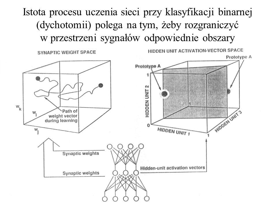 Istota procesu uczenia sieci przy klasyfikacji binarnej (dychotomii) polega na tym, żeby rozgraniczyć w przestrzeni sygnałów odpowiednie obszary