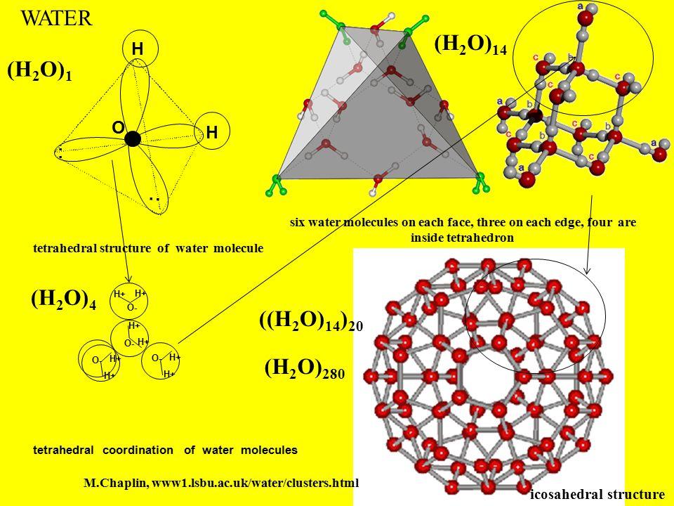 WATER (H2O)14 (H2O)1 (H2O)4 ((H2O)14)20 (H2O)280 H O :