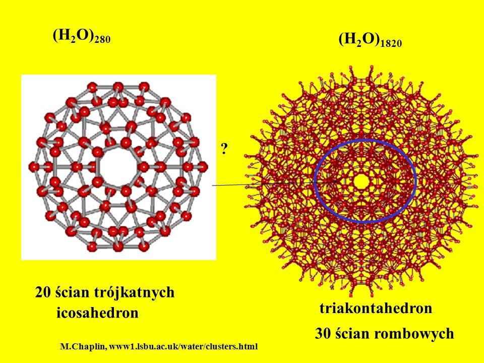 (H2O)280 (H2O)1820 20 ścian trójkatnych triakontahedron icosahedron