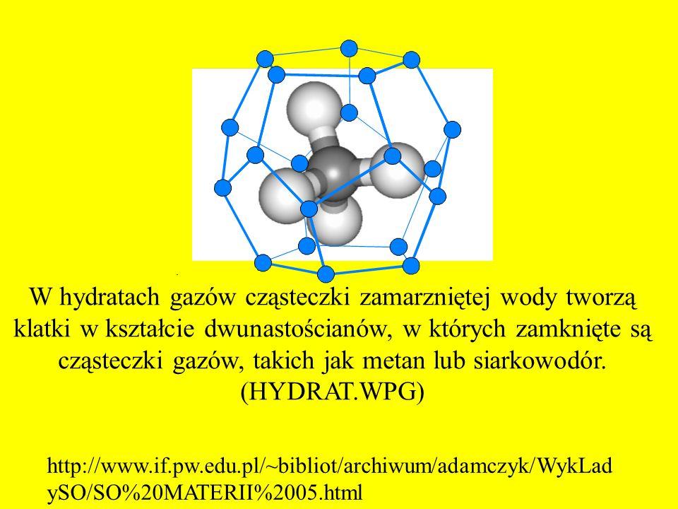 W hydratach gazów cząsteczki zamarzniętej wody tworzą klatki w kształcie dwunastościanów, w których zamknięte są cząsteczki gazów, takich jak metan lub siarkowodór. (HYDRAT.WPG)