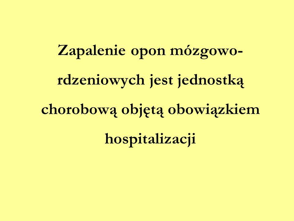 Zapalenie opon mózgowo-rdzeniowych jest jednostką chorobową objętą obowiązkiem hospitalizacji