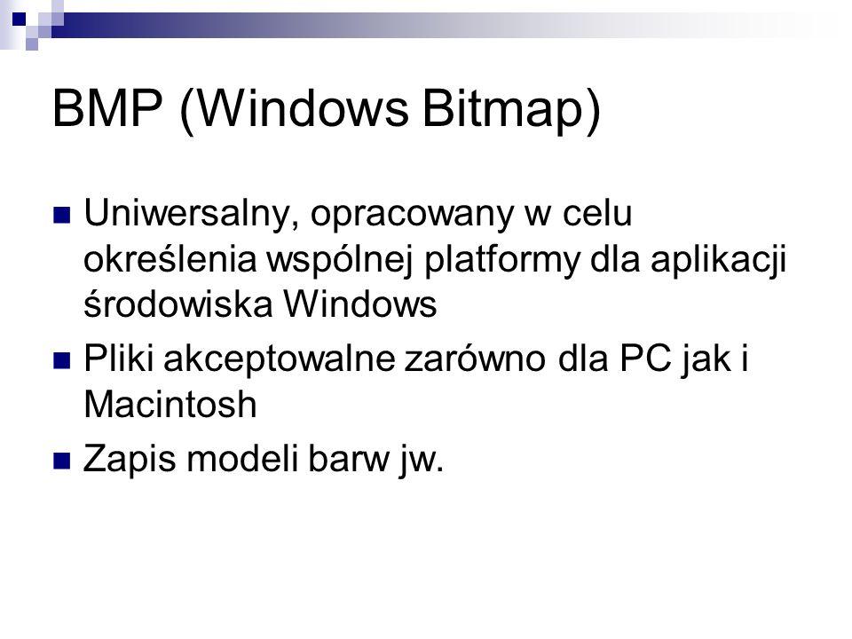 BMP (Windows Bitmap) Uniwersalny, opracowany w celu określenia wspólnej platformy dla aplikacji środowiska Windows.