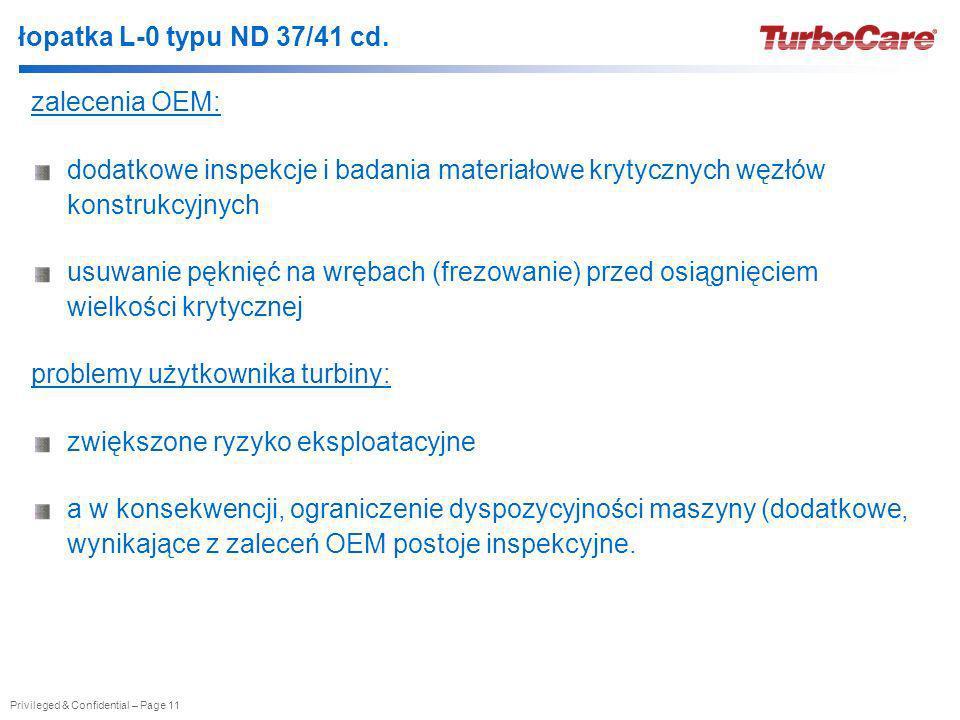 łopatka L-0 typu ND 37/41 cd. zalecenia OEM: dodatkowe inspekcje i badania materiałowe krytycznych węzłów konstrukcyjnych.