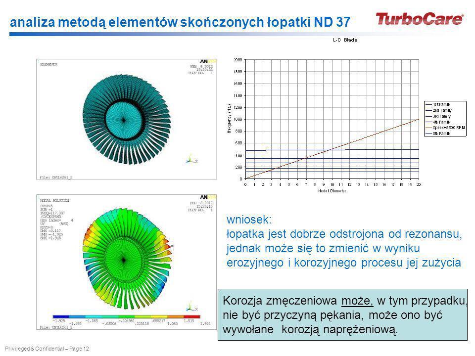 analiza metodą elementów skończonych łopatki ND 37