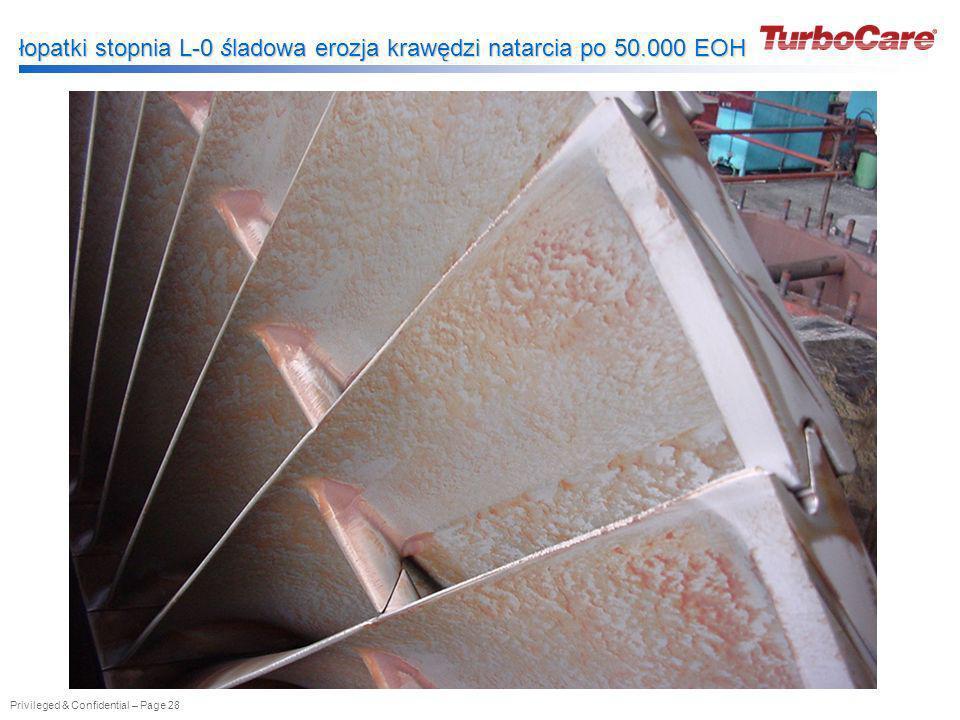 łopatki stopnia L-0 śladowa erozja krawędzi natarcia po 50.000 EOH