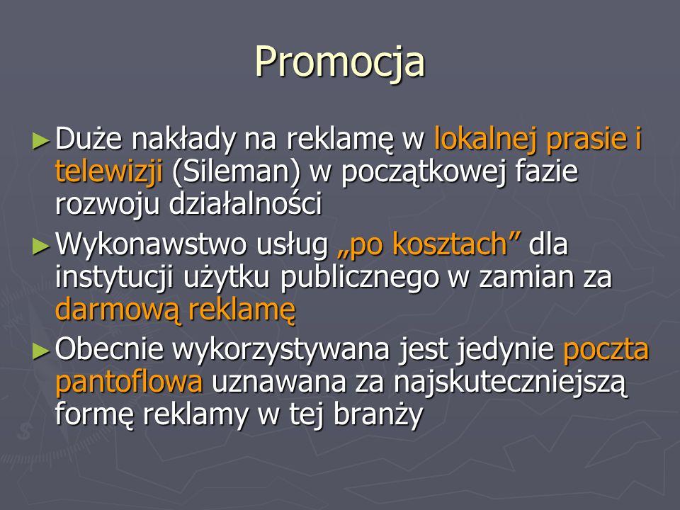 Promocja Duże nakłady na reklamę w lokalnej prasie i telewizji (Sileman) w początkowej fazie rozwoju działalności.