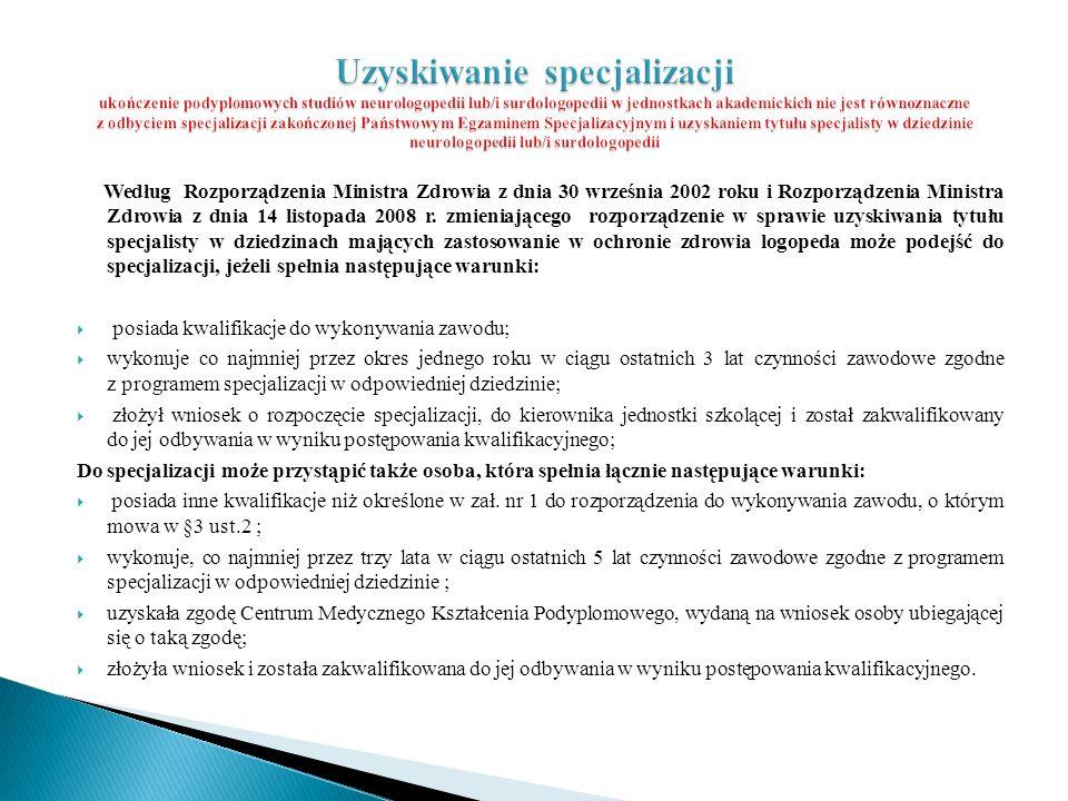 Uzyskiwanie specjalizacji ukończenie podyplomowych studiów neurologopedii lub/i surdologopedii w jednostkach akademickich nie jest równoznaczne z odbyciem specjalizacji zakończonej Państwowym Egzaminem Specjalizacyjnym i uzyskaniem tytułu specjalisty w dziedzinie neurologopedii lub/i surdologopedii