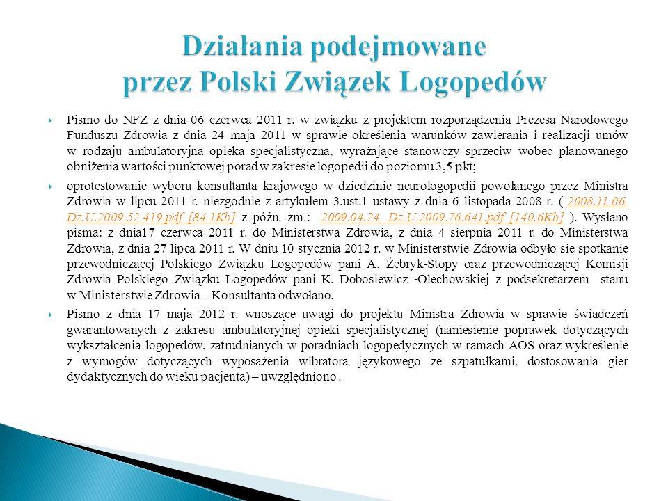 Działania podejmowane przez Polski Związek Logopedów