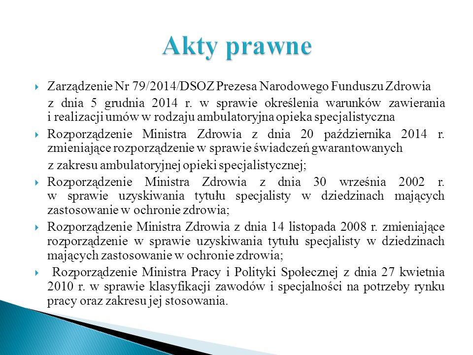 Akty prawne Zarządzenie Nr 79/2014/DSOZ Prezesa Narodowego Funduszu Zdrowia.