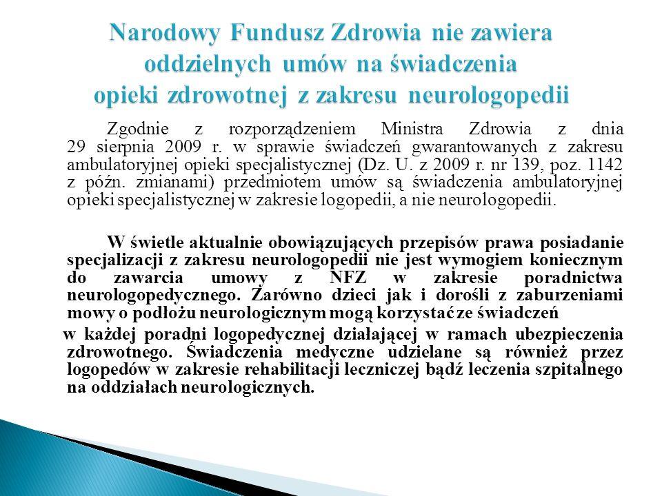 Narodowy Fundusz Zdrowia nie zawiera oddzielnych umów na świadczenia opieki zdrowotnej z zakresu neurologopedii