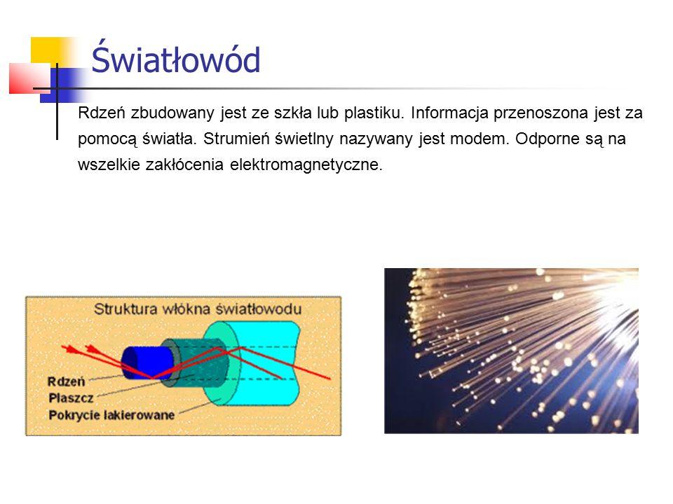 Światłowód Rdzeń zbudowany jest ze szkła lub plastiku. Informacja przenoszona jest za.