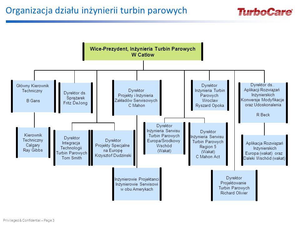 Organizacja działu inżynierii turbin parowych