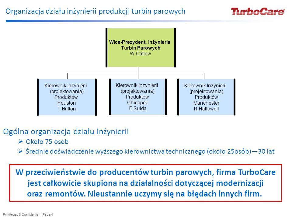 Organizacja działu inżynierii produkcji turbin parowych