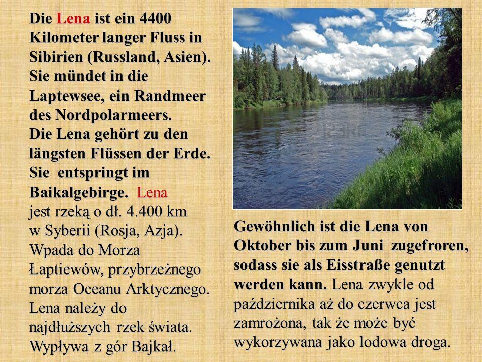 Die Lena ist ein 4400 Kilometer langer Fluss in Sibirien (Russland, Asien). Sie mündet in die Laptewsee, ein Randmeer des Nordpolarmeers. Die Lena gehört zu den längsten Flüssen der Erde. Sie entspringt im Baikalgebirge. Lena jest rzeką o dł. 4.400 km w Syberii (Rosja, Azja). Wpada do Morza Łaptiewów, przybrzeżnego morza Oceanu Arktycznego. Lena należy do najdłuższych rzek świata. Wypływa z gór Bajkał.