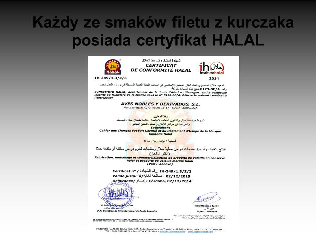 Każdy ze smaków filetu z kurczaka posiada certyfikat HALAL