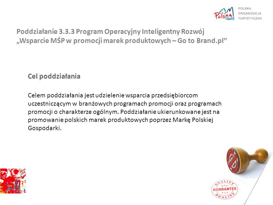 """Poddziałanie 3.3.3 Program Operacyjny Inteligentny Rozwój """"Wsparcie MŚP w promocji marek produktowych – Go to Brand.pl"""