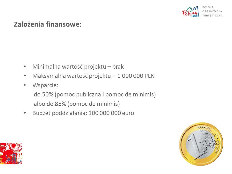 Założenia finansowe: Minimalna wartość projektu – brak
