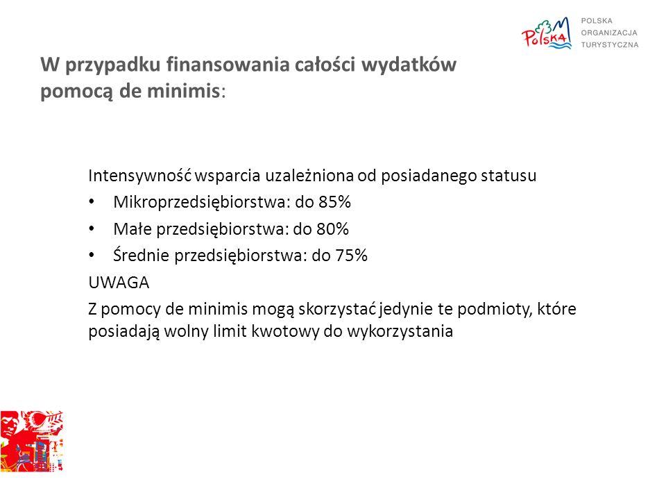 W przypadku finansowania całości wydatków pomocą de minimis:
