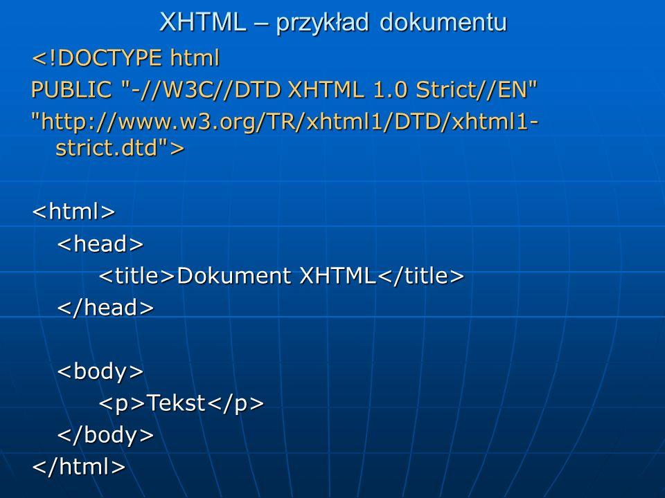 XHTML – przykład dokumentu