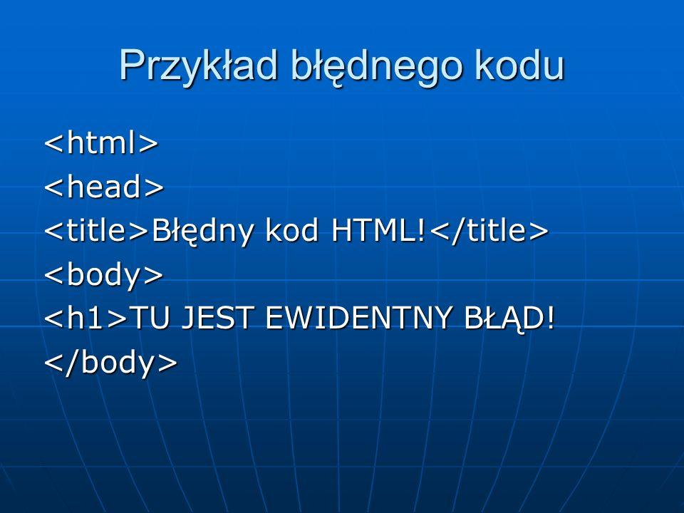 Przykład błędnego kodu