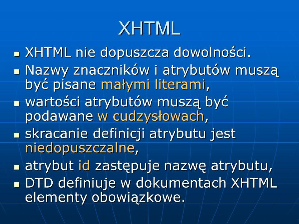 XHTML XHTML nie dopuszcza dowolności.