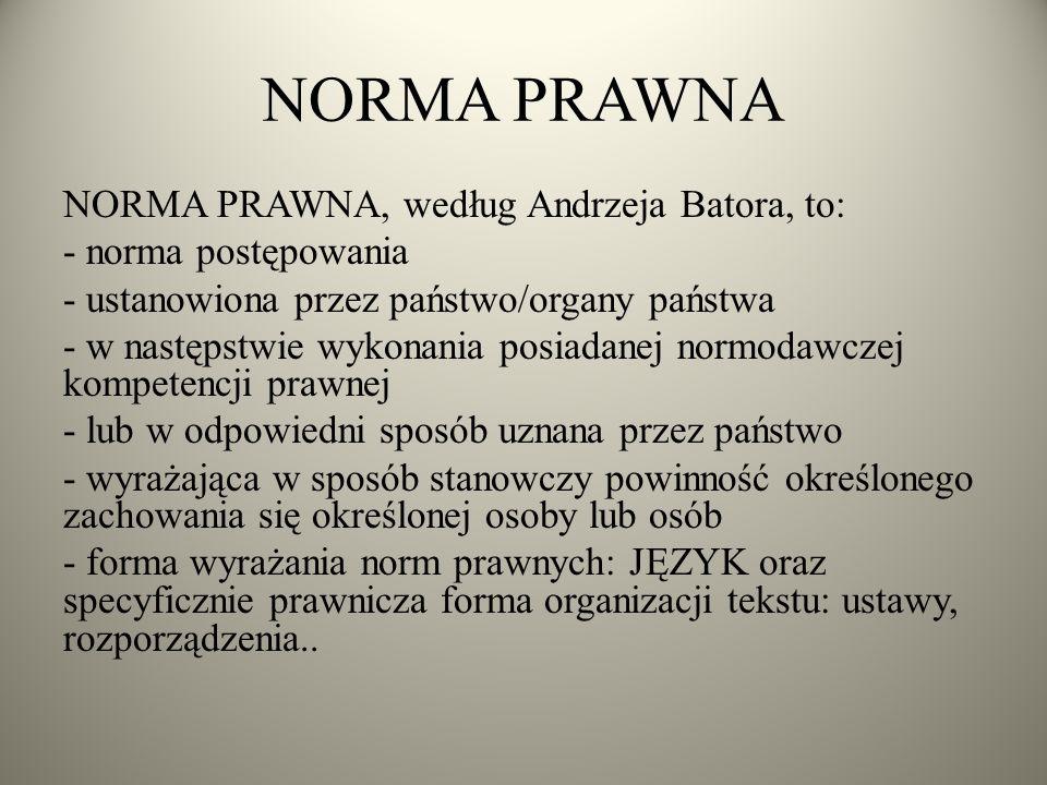 NORMA PRAWNA NORMA PRAWNA, według Andrzeja Batora, to: