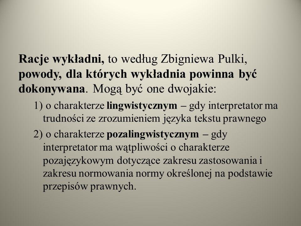 Racje wykładni, to według Zbigniewa Pulki, powody, dla których wykładnia powinna być dokonywana. Mogą być one dwojakie: