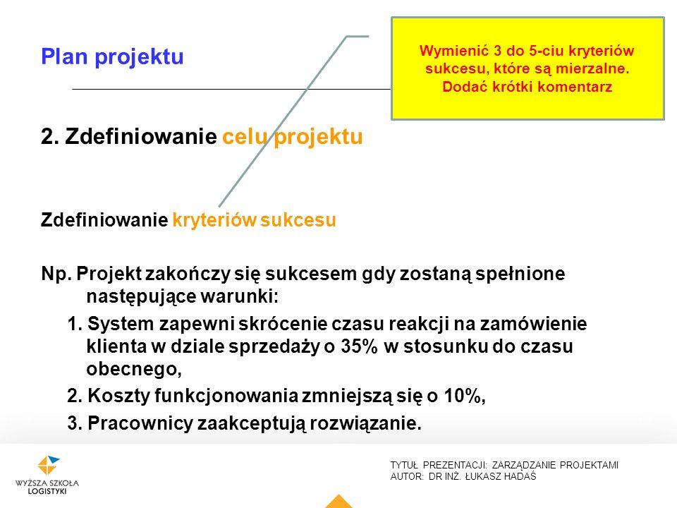 2. Zdefiniowanie celu projektu