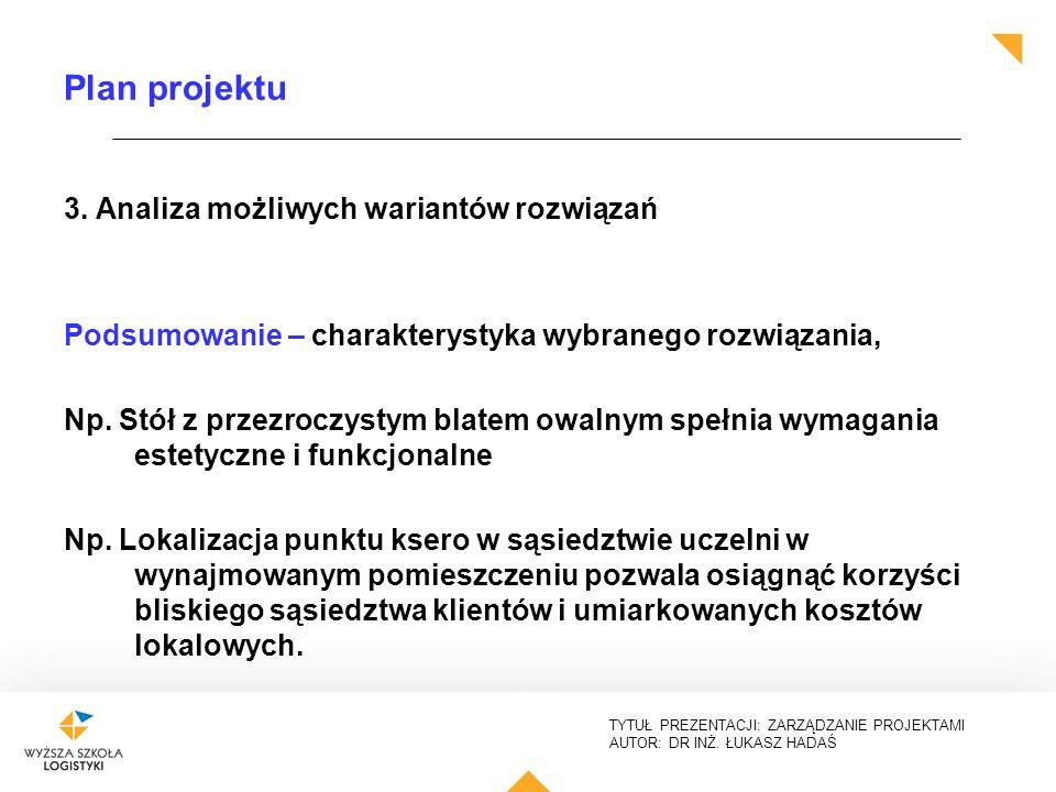Plan projektu 3. Analiza możliwych wariantów rozwiązań