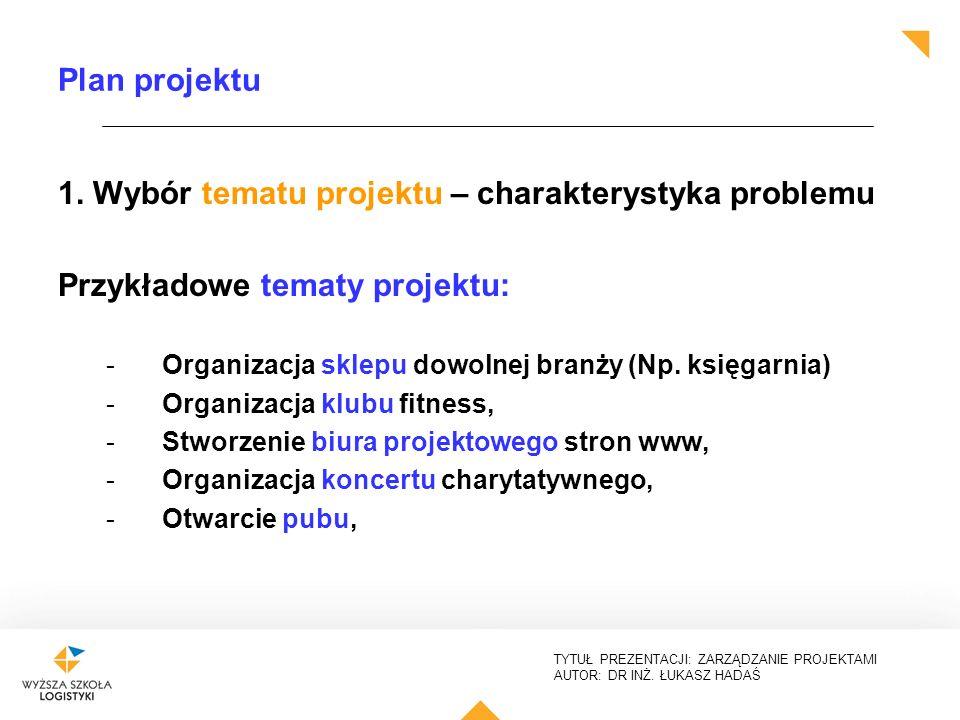 1. Wybór tematu projektu – charakterystyka problemu