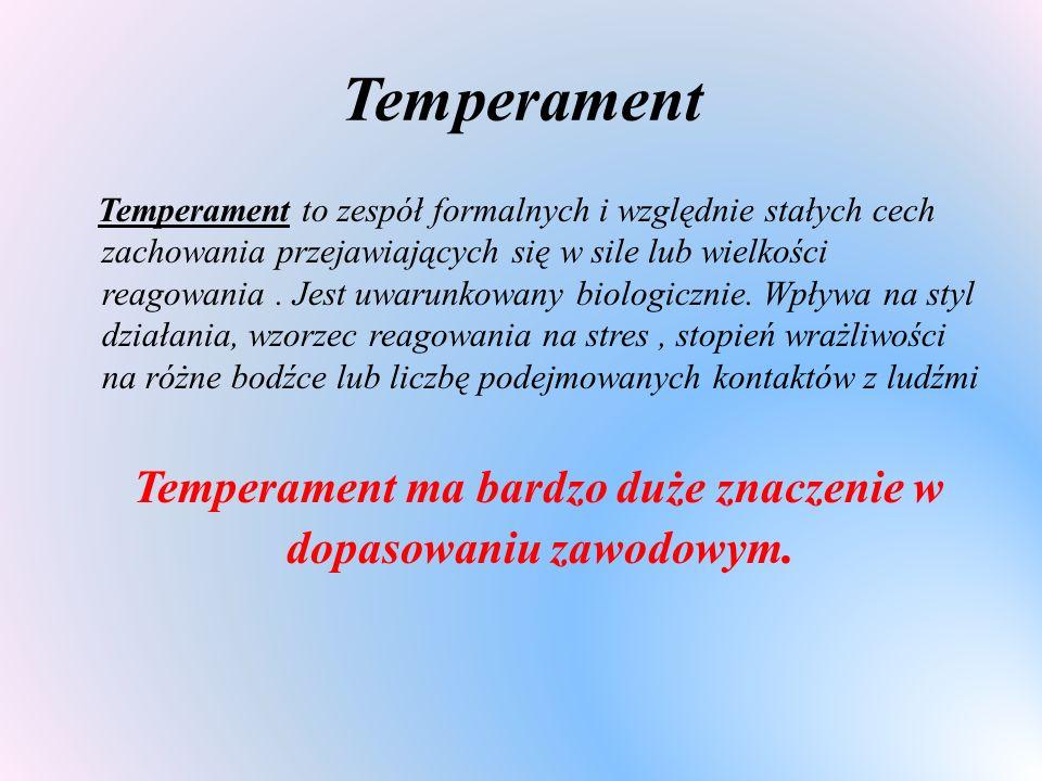 Temperament ma bardzo duże znaczenie w dopasowaniu zawodowym.