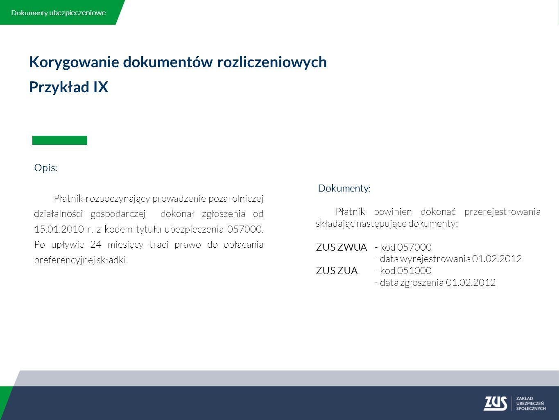 Korygowanie dokumentów rozliczeniowych Przykład IX