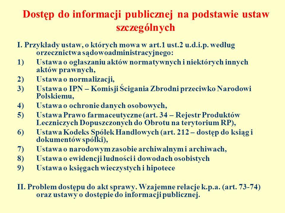 Dostęp do informacji publicznej na podstawie ustaw szczególnych